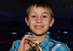 Paul Bickford/NNSL photo Brayden Michaud received a special award for a game in which he scored more than 100 points higher than his average during the past season of the Youth Bowling Canada program.