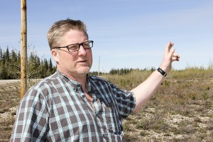 Paul Bickford/NNSL photo On May 13, Brad Mapes, the majority owner of Aurora Wood Pellets Ltd., pointed out features of the land on which he will be building a wood pellet mill just north of Enterprise. The sale of the land became final the previous day.
