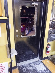 photo courtesy of the Hay River RCMP An April 27 break-in at Monster Recreational Products – during which the front door was smashed to gain entry – was one of four break and enters in Hay River during April.