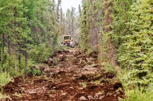Walter Strong/NNSL photo A peice of heavy equipment lays a fire break perpendicular to highway 3 near Fort Providence last summer. June 28, 2015.
