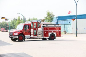 Paul Bickford/NNSL photo A fire truck blocks Woodland Drive on July 18 morning as a result of an ammonia leak in the old Don Stewart Recreation Centre, currently being town down to make way for a new centre.