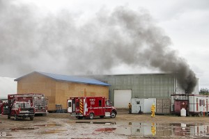 Paul Bickford/NNSL photo A fire at a building of Concept Energy Services Ltd. on July 23 destroyed a forklift inside the structure.