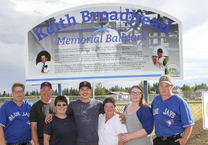 Paul Bickford/NNSL photo Along with Mayor Brad Mapes, left, many family members were on hand for the opening of the Keith Broadhead Memorial Ballfield. Pictured are, left to right, Mapes, Curtis Broadhead, Sabrina Broadhead, Gavin Broadhead, Brenda Dohey, Kayia Dohey and Keith Dohey.