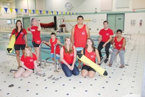 Paul Bickford/NNSL photo Many of the lifeguards at the swimming pool – pictured on Aug. 12 during NWT Lifeguard Appreciation Day – will participate in The Great Hay River Triathlon on Sept. 10. The lifeguards are, left to right, aquatics supervisor Ashley Coombs, Kaylee Melvin, Jesse Vogt, Tyson Maher, Danna Webster, Allen Gostick, Robin Schell, Mason Hache and Jaymar Marzan. NWT Lifeguard Appreciation Day was declared by the NWT Recreation and Parks Association.