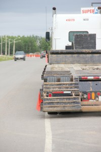 Paul Bickford/NNSL photo On Aug. 12, this truck is parked in the walkway on the side of the Super A service road.