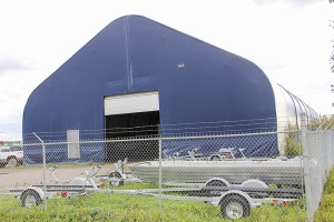 Paul Bickford/NNSL photo This large tent owned by Aurora Ford will hold a natural-ice rink this coming winter.