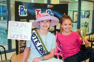 NNSL file photo Rochelle Smith of Princess Alexandra School wears a suffragette costume from her project in the NWT Heritage Fair on May 6 and 7 in Yellowknife.