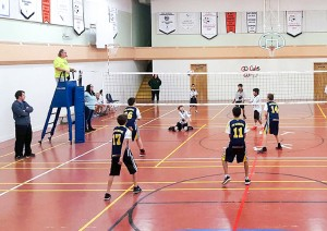 photo courtesy of Princess Alexandra School Princess Alexandra School in the near side of the court battled Joseph Burr Tyrrell School of Fort Smith during the recent Lawrie Hobart Memorial Volleyball Tournament in Fort Smith.