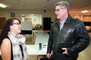 Paul Bickford/NNSL photo Marissa Oteiza, left, the Hay River office manager with Ecology North, chats with Mayor Brad Mapes following an Oct. 19 meeting in Enterprise on a regional waste transfer facility.