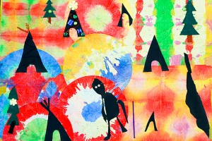 photo courtesy of South Slave Divisional Education Council This image was created by students at Chief Sunrise Education Centre on the Hay River Reserve as part of an entry into the Aboriginal Children's Book Writing Contest, which was sponsored by the South Slave Divisional Education Council.