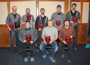 Paul Bickford/NNSL photo Hay River Apprenticeship and Occupational Awards were presented on Nov. 4 to, in the front row, from left, Philippe Michaud, Cory Tybring and Kaleb Milne. In the back row, from left, are Donald Fisher, John Pynten, David Nolan, Zackary Bonnetrouge and Keanan Kipling.