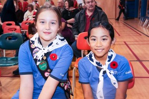Girl Guides – including nine-year-olds Delayna Cross, left, and Sophia Brito – participated in the Remembrance Day ceremonies.