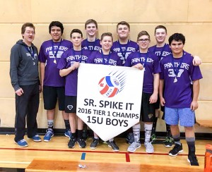 photo courtesy of Kelly Webster The under-15 boys volleyball team from Diamond Jenness Secondary School – which won a first-place banner at the Senior Spike It! territorial championships in Yellowknife – consisted of, left to right, head coach Kelvin Yee, Mathew Lafferty, Trey Beck, Zack Horton, Caleb Brockway, Nick Suwala, Riis Schaub, Bryce Smith and Jacob Harder.