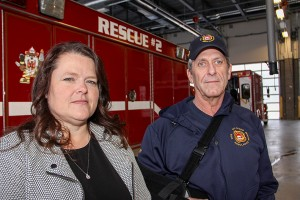 Paul Bickford/NNSL photo Deputy mayor Donna Lee Jungkind, left, and Fire Chief Ross Potter stand next to a rescue vehicle at the Fire Hall.