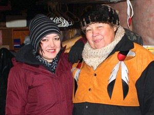 photo courtesy of South Slave Divisional Education Council Grace-Ann Nowdlak of Hay River, left, stands with Eileen Beaver, a Fort Smith elder who acted in the movie Three Feathers.