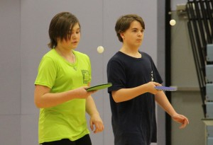 Paul Bickford/NNSL photo Two Ecole Boreale students – Mia McKenzie-Steinwand, left, and Gavyn Lamoureux – participate in an exercise during a table tennis clinic last week at Diamond Jenness Secondary School.