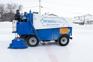 Paul Bickford/NNSL photo An ice resurfacer cleans the ice of the Ray Benoit Outdoor Rink in 553 on Jan. 20.