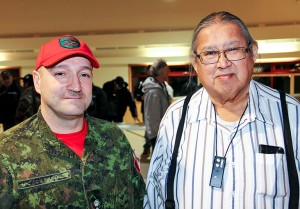 Paul Bickford/NNSL photo Lt.-Col. Luis Carvallo, left, commanding officer of the 1st Canadian Ranger Patrol Group, and Chief Roy Fabian of K'atlodeeche First Nation both spoke at a Jan. 18 meeting on the Hay River Reserve.