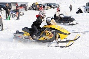 NNSL file photo During the 2016 Weekend Warriors event on the Hay River, Sydney Hiebert, front, and Samantha Fosty hit the gas at the beginning of a race on March 6.