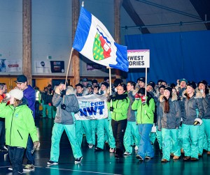Walter Strong/NNSL photo Jacob Klengenberg of Ulukhaktok carried the flag for AWG2016 Team NWT.