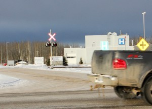 NNSL file photo A truck on Highway 2 drives past the entrance to the Hay River Regional Health Centre.